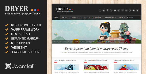 Dryer – Multipurpose Joomla Template