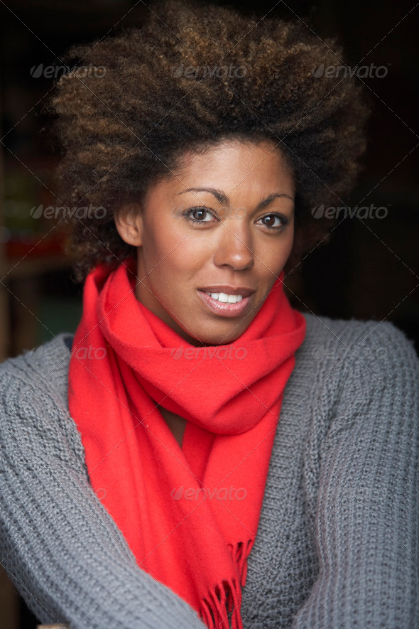 Portrait Of Beautiful Woman Wearing Scarf - Stock Photo - Images