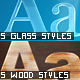 5 Glass & 5 Wood Text Styles - GraphicRiver Item for Sale