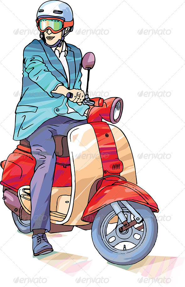 Businessman on the Scooter - People Characters