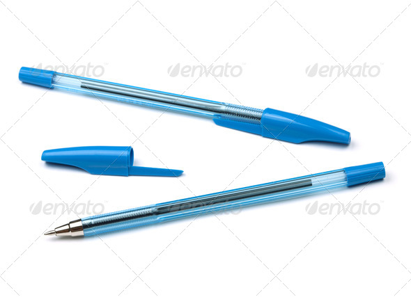 Two blue pens - Stock Photo - Images