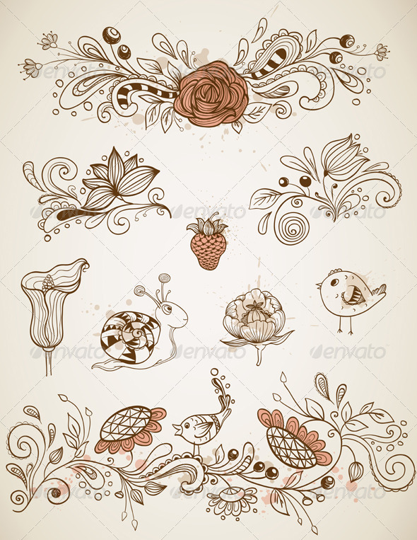 Doodle Design Elements - Decorative Symbols Decorative