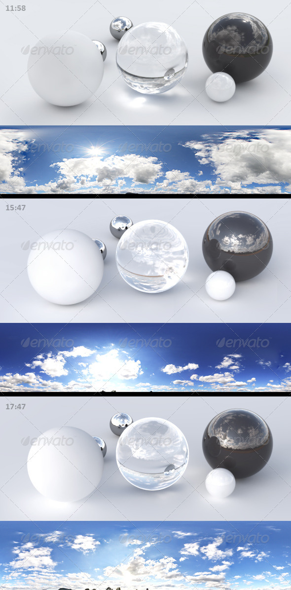 3er HDRI sky pack 01 - blue sky, sunny cloudy - 3DOcean Item for Sale