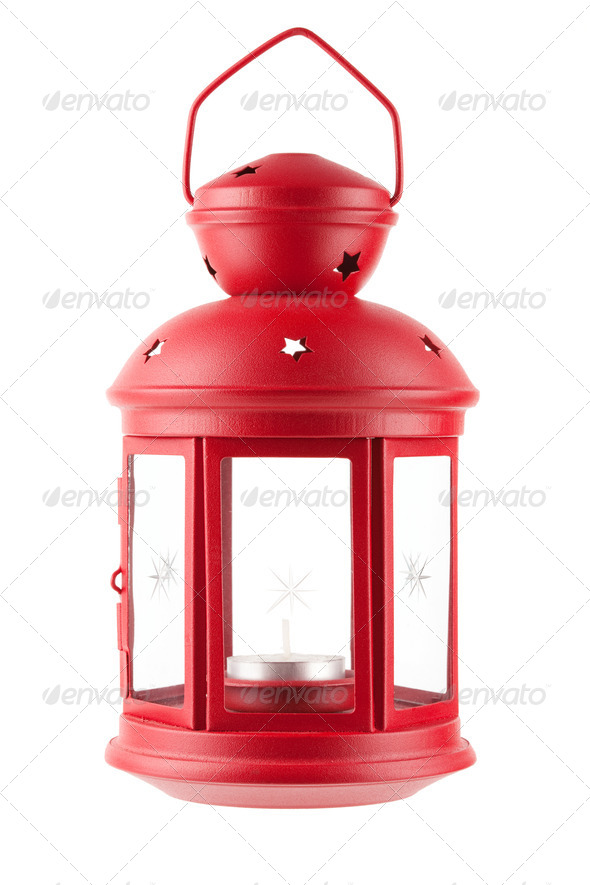 Red metal lamp with candle - Stock Photo - Images