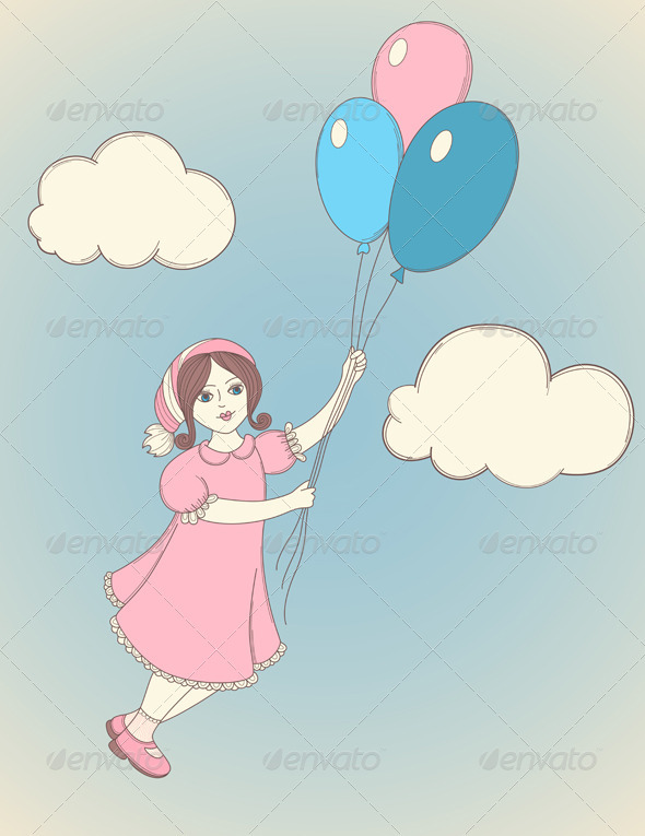 Girl with Balloons - People Characters