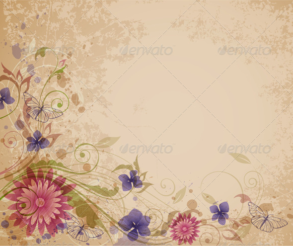 Old Floral Background - Backgrounds Decorative