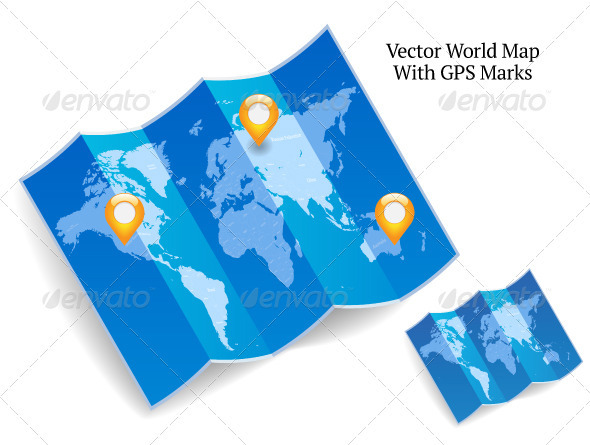 Blue Folded World Map With GPS Marks - Technology Conceptual
