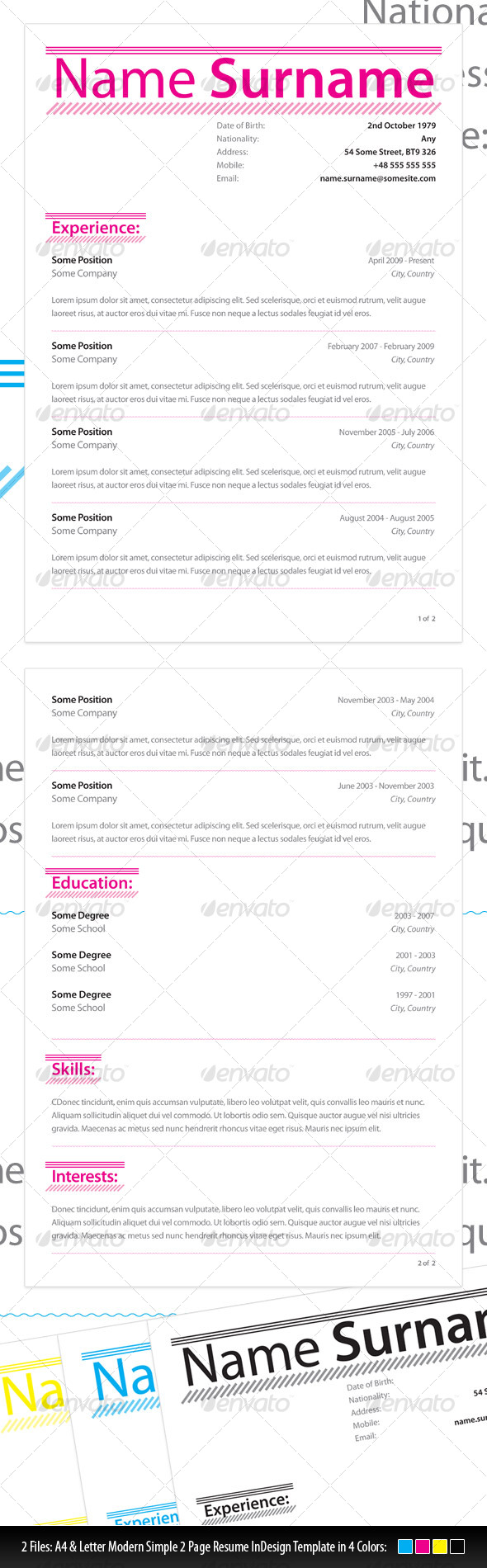 Modern Simple Resume  - Resumes Stationery