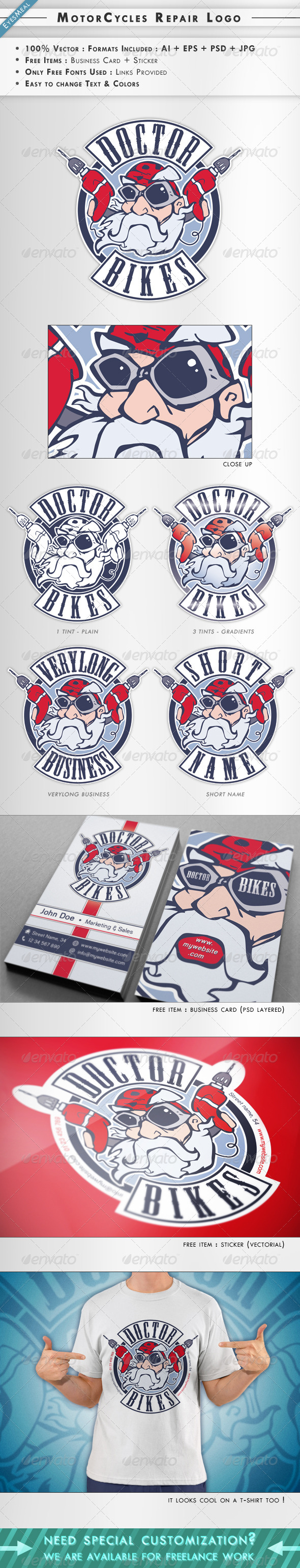 MotorCycles Repair : Logo + Business Card - Humans Logo Templates