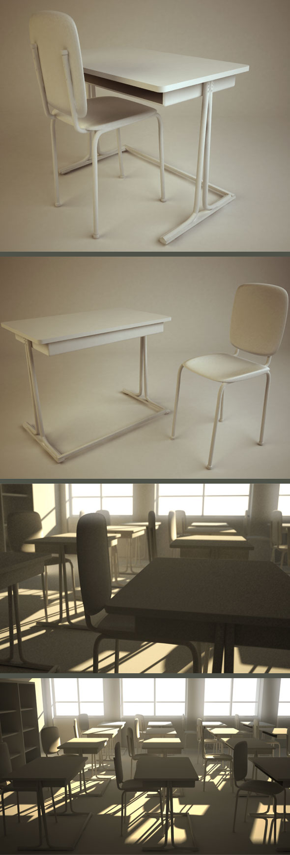 School Chair & Desk - 3DOcean Item for Sale