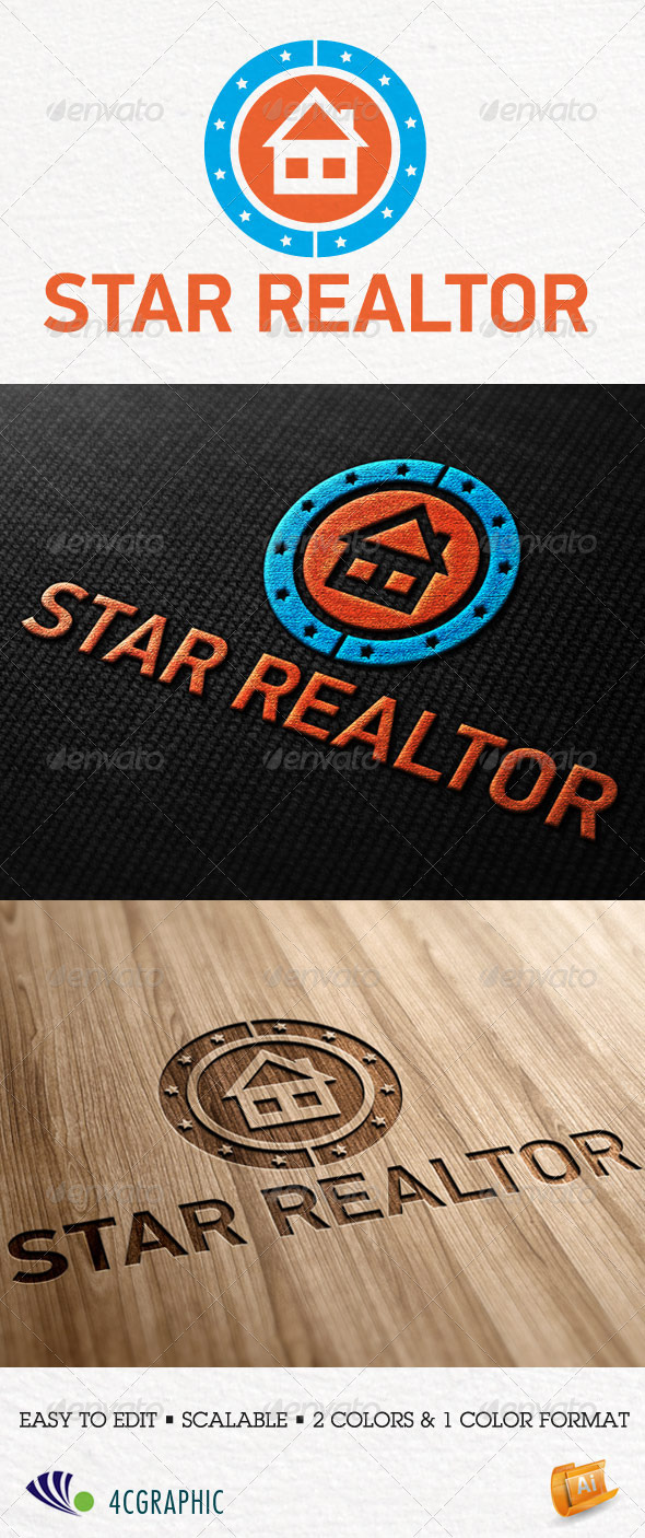 Star Realtor Logo Template - Logo Templates