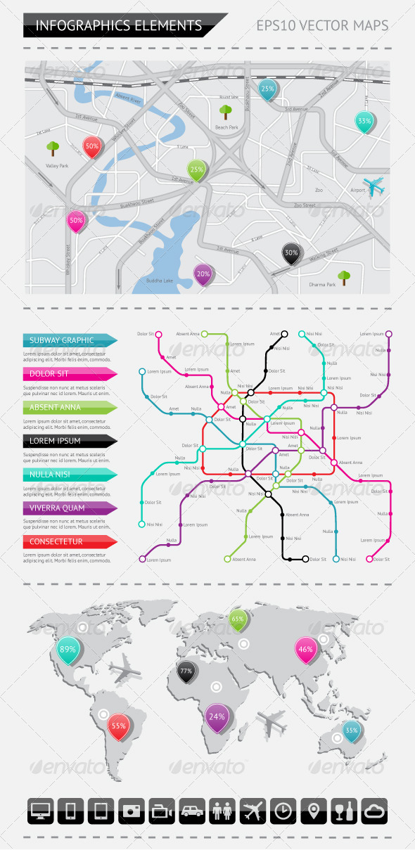 Infographics elements with world map - Infographics