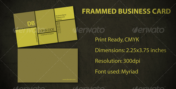 Framed Business Card - Corporate Business Cards