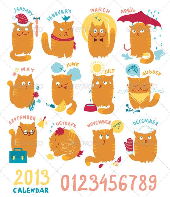 Calendar With Cute Bright Cats - Characters Vectors