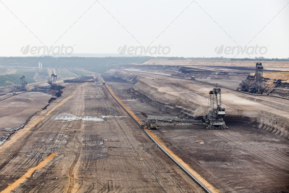 Bucket-wheel excavator in an open pit. - Stock Photo - Images