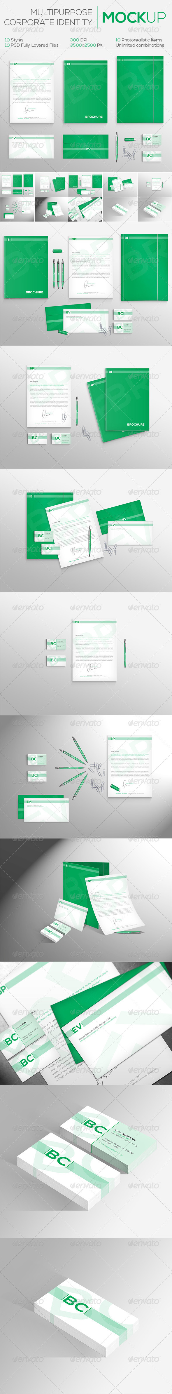 Multipurpose Corporate Identity MockUp | 10 Styles - Stationery Print