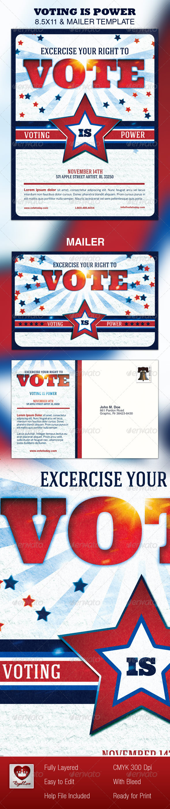 Vote 8.5x11 & Mailer Template - Events Flyers
