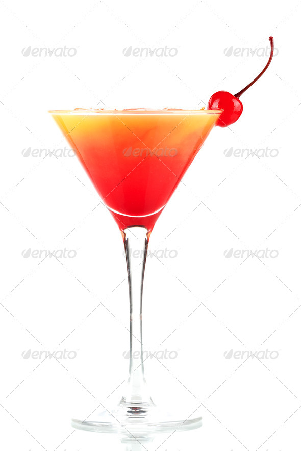 Tequila sunrise alcohol cocktail with ice and maraschino - Stock Photo - Images