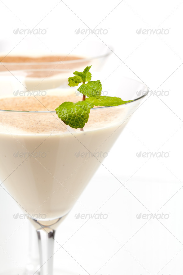 Alcohol cocktail with milk and mint - Stock Photo - Images