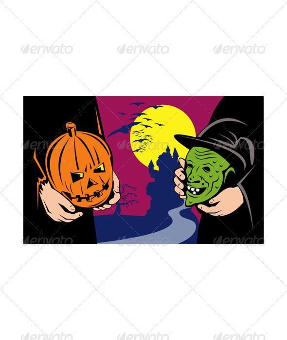 Halloween Mask Jack-O-Lantern Witch Retro  - Halloween Seasons/Holidays