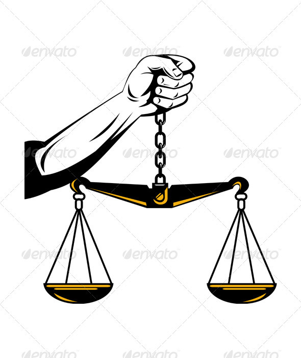 Hand Holding Scales of Justice - Concepts Business