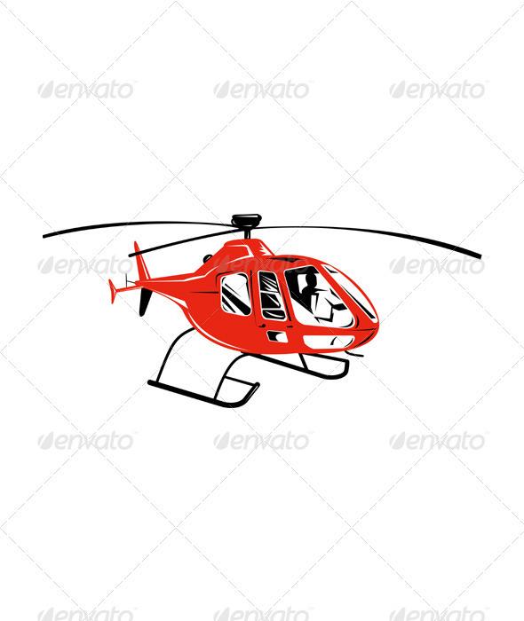 Helicopter Chopper Retro - Travel Conceptual