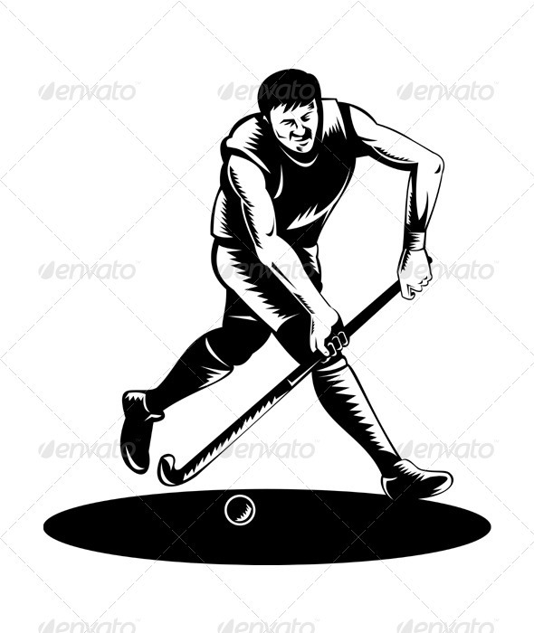 Field Hockey Player Running With Stick Retro  - Sports/Activity Conceptual