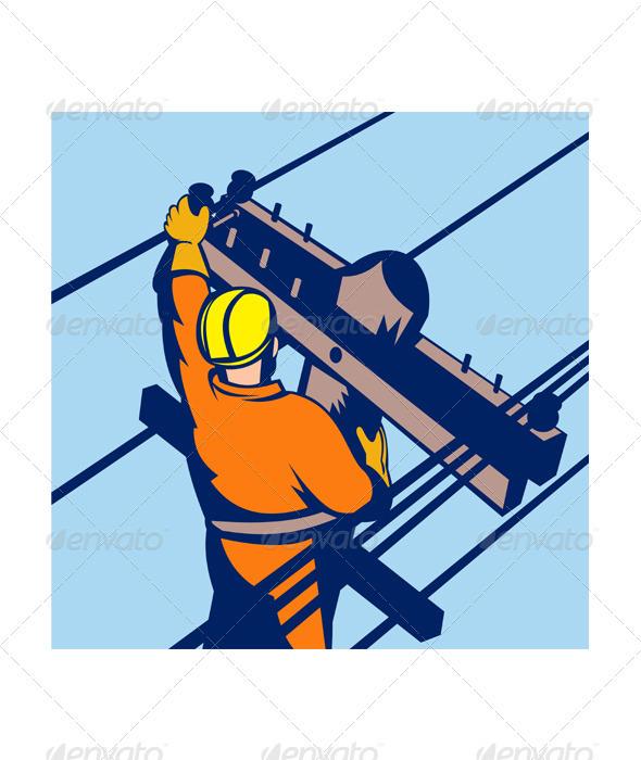 Power Lineman Telephone Repairman Electrician - Industries Business