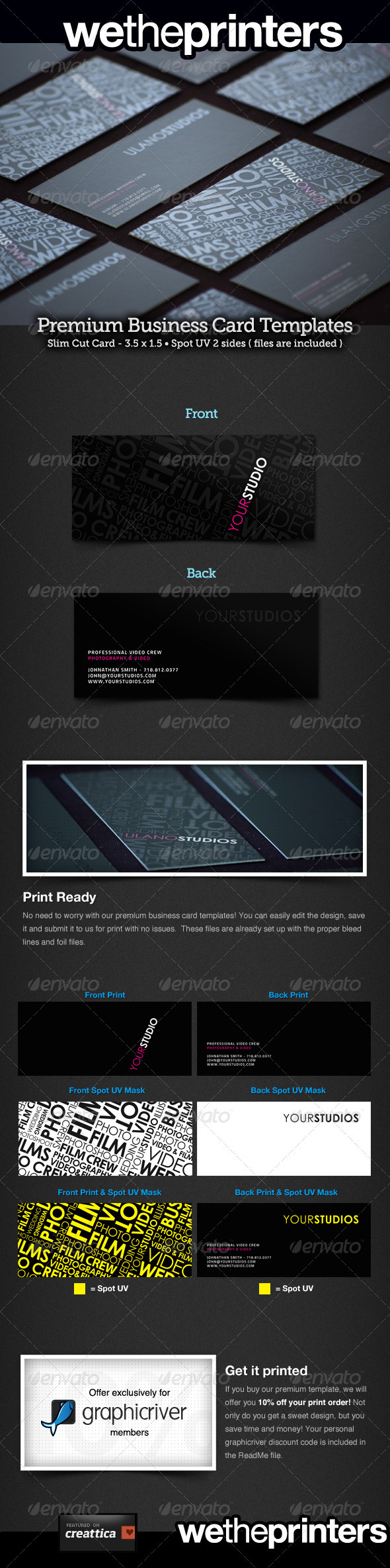 Slim Cut Spot UV Business Card - Creative Business Cards