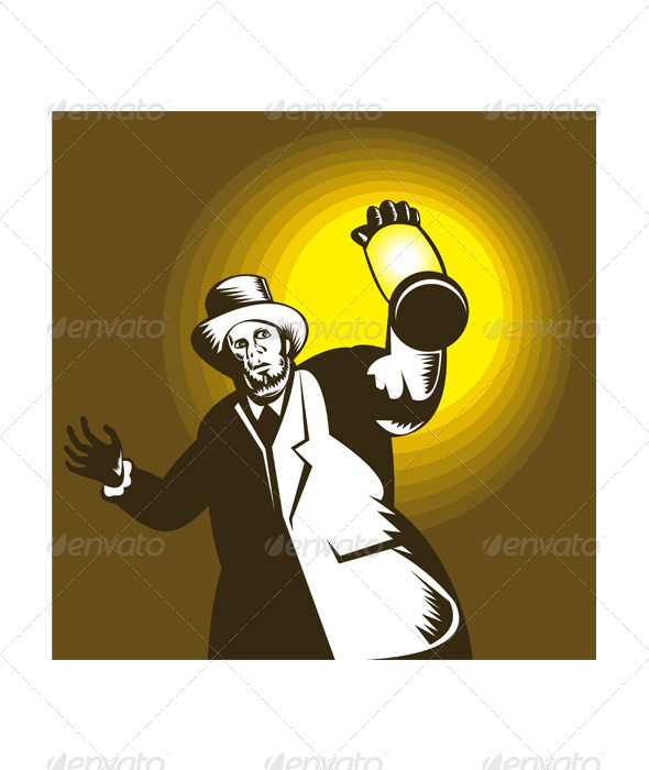 Man Wearing Top hat And Holding Lantern  - People Characters