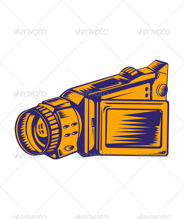 Video Camera Recorder Woodcut - Media Technology