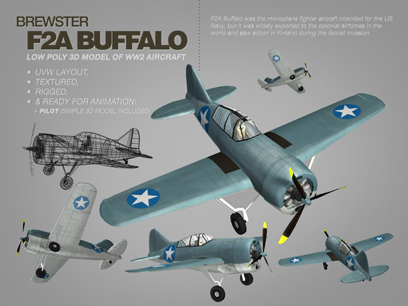 Brewster F2A Buffalo 3ds max model of WW2 aircraft - 3DOcean Item for Sale