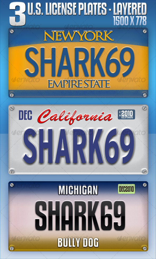 3 U.S. License Plates - Layered - Backgrounds Graphics