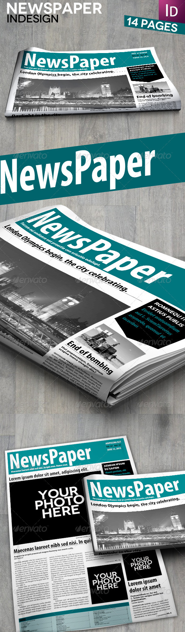 InDesign Newspaper 14 Pages - Newsletters Print Templates