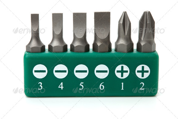 Set of heads for screwdriver - Stock Photo - Images