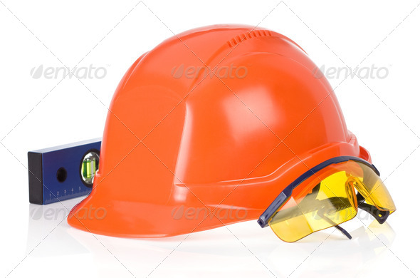 construction helmet tool on white - Stock Photo - Images