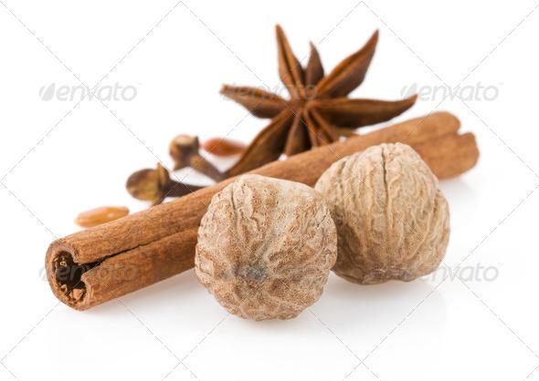 cinnamon, anise star and nutmeg - Stock Photo - Images