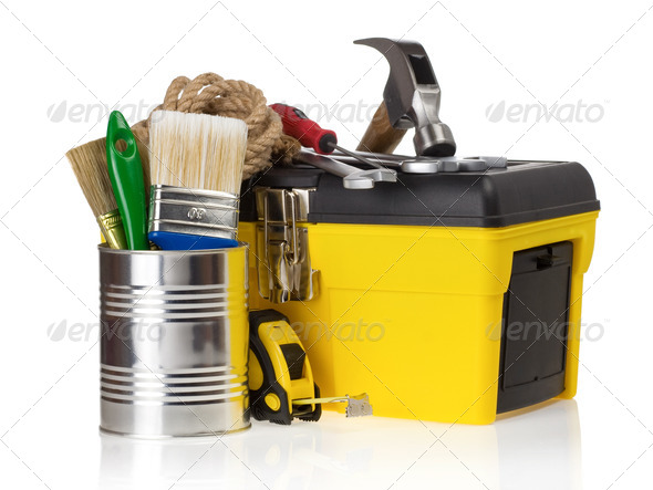 set of tools in toolbox at white - Stock Photo - Images