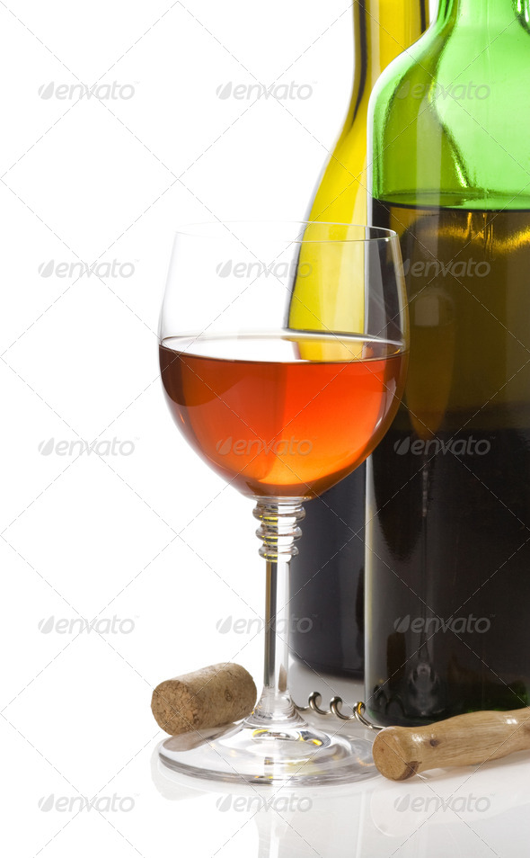 wine bottle and wineglasses - Stock Photo - Images