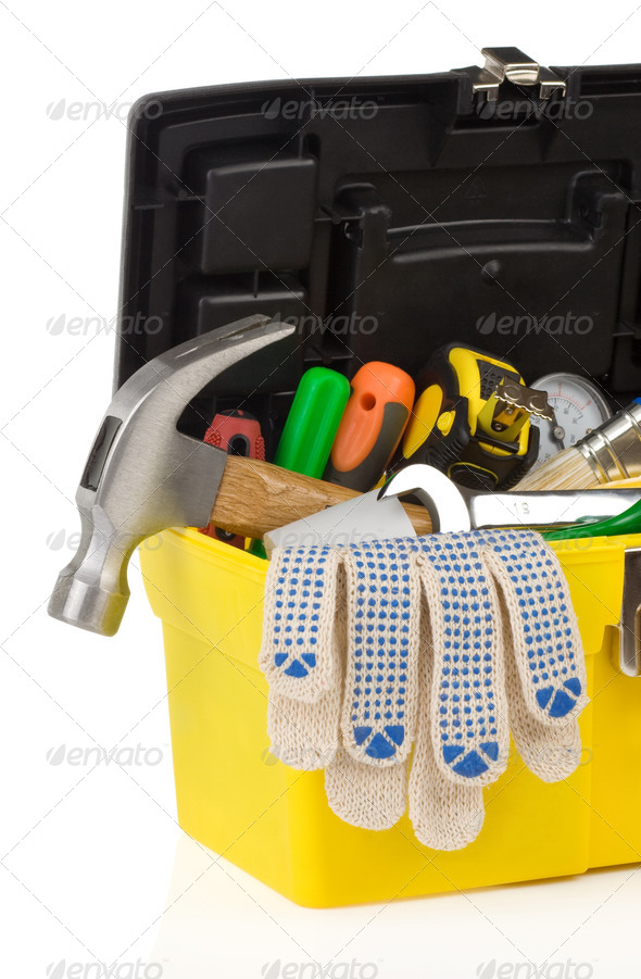kit of tools and box  on white - Stock Photo - Images