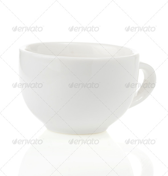 empty ceramic cup on white - Stock Photo - Images