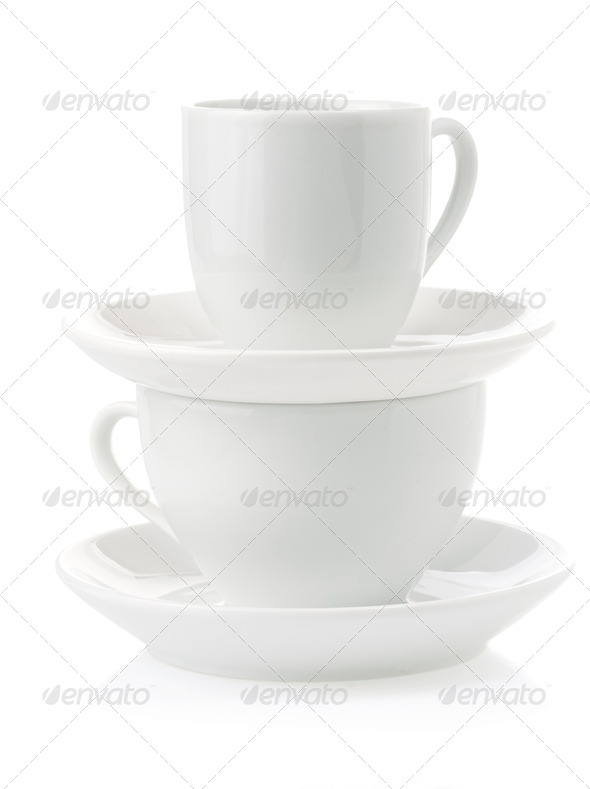 clean cups and saucer - Stock Photo - Images