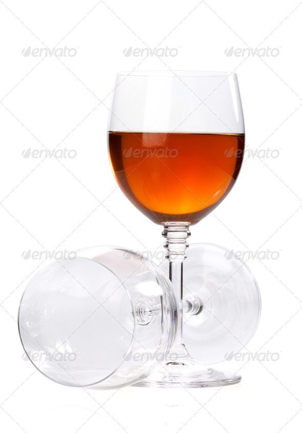 wine in glasses isolated on white - Stock Photo - Images