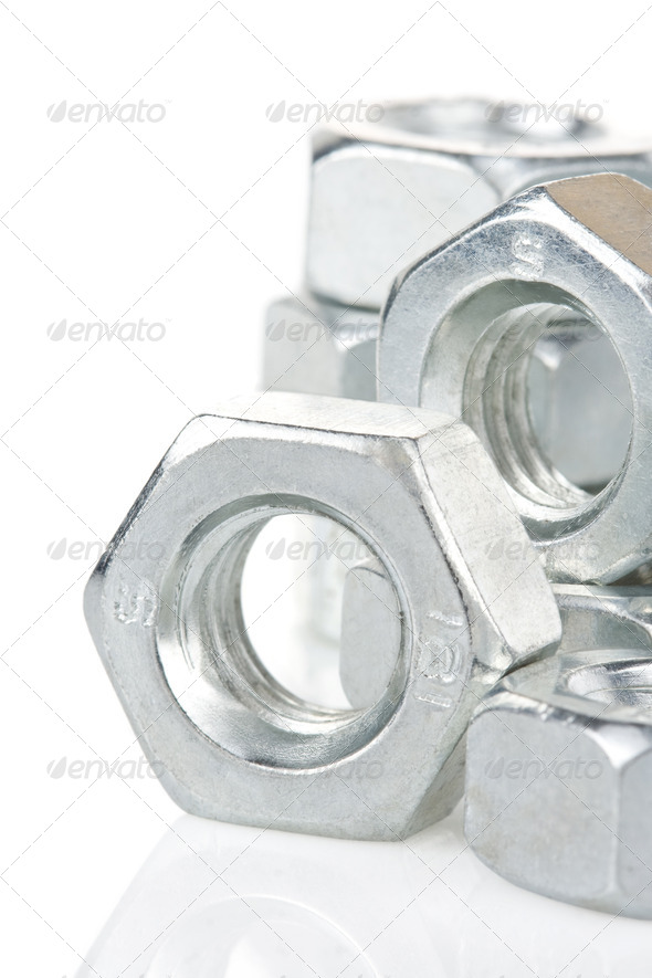 metal nuts tool on white - Stock Photo - Images