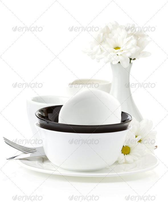 ceramic clean dishes - Stock Photo - Images