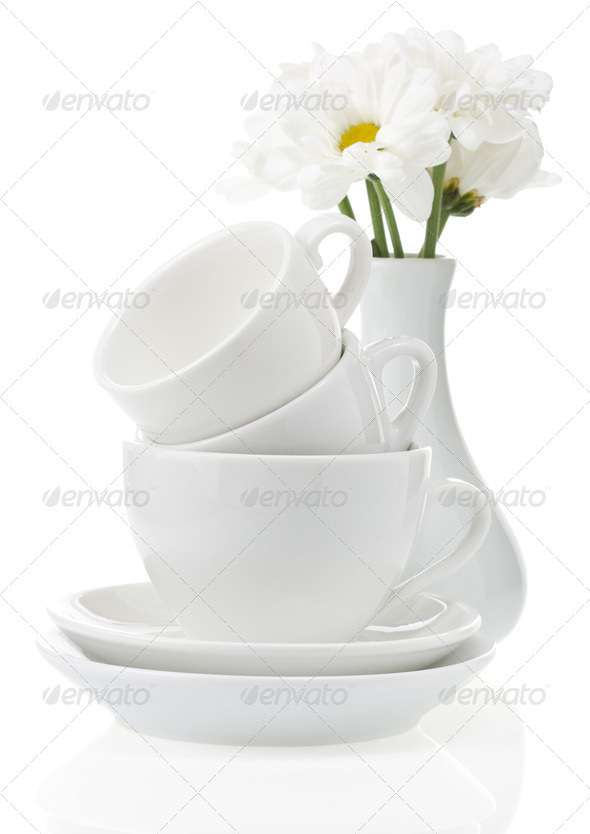 clean plates and cups - Stock Photo - Images