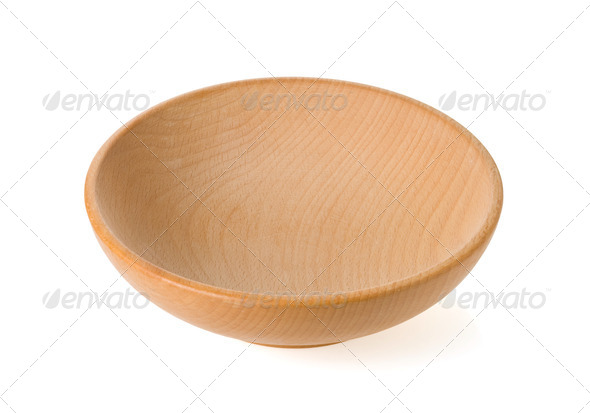 wood bowl isolated on white - Stock Photo - Images