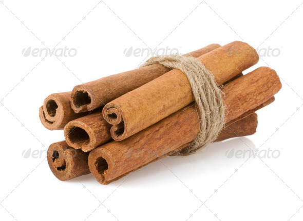 cinnamon sticks on white - Stock Photo - Images