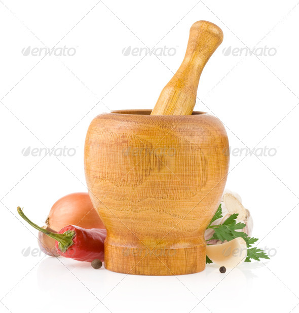 ingredients and mortar with pestle - Stock Photo - Images