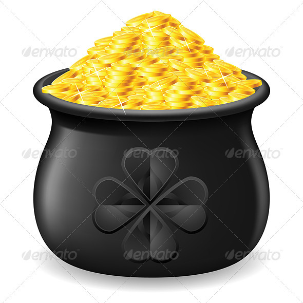 Pot full of gold coin - Miscellaneous Vectors
